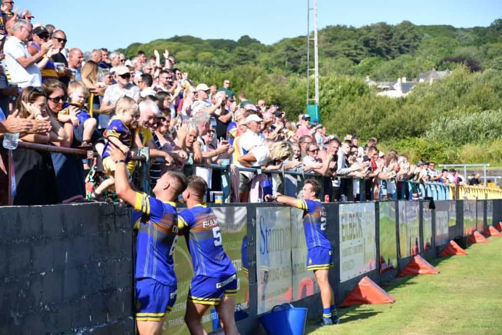 Whitehaven fans celebrate the win. Picture: Ben Challis