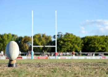 rugby ball on rugby field