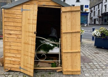 Shed damaged at the top of Market Street in Ulverston