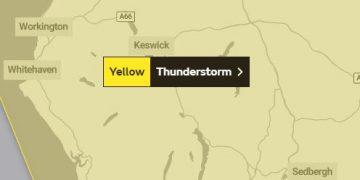 Met Office yellow thunderstorm warning