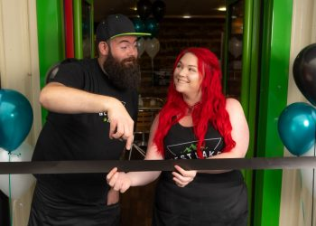 Luke Woodend and Nic Hewitt opening the West Lakes Hemp cafe