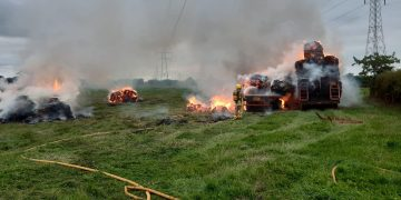 Firefighters were called to two trailers on fire near Little Orton