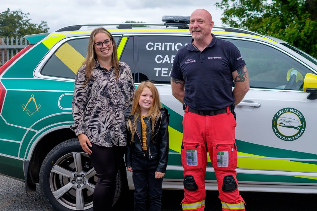 Amy Shaw, Ava Pearson and paramedic Terry Sharpe