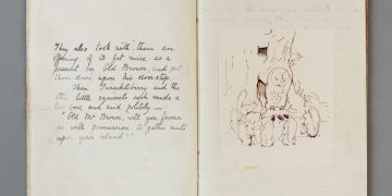 An image of the Tale of Squirrel Nutkin manuscript on display at Beatrix Potter Gallery ©National TrustFrederickWarne & Co Archive
