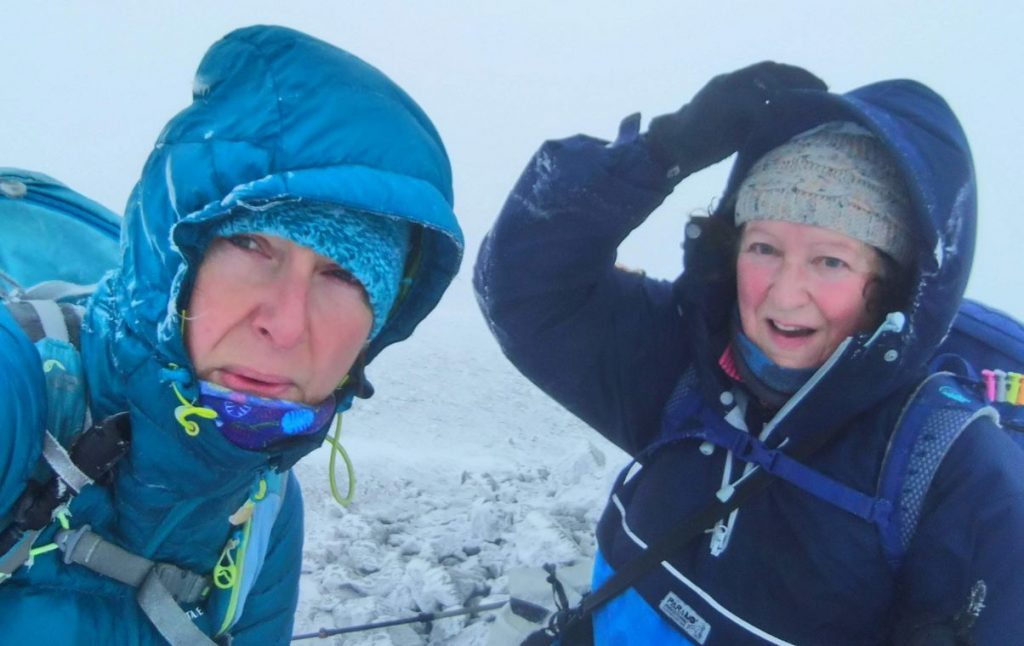 Ann-Marie Verner and Jo Jackson in the snow