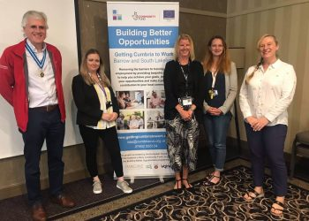 David Beeby, High Sheriff of Cumbria; Natalia Wealleans-Turner, Cumbria CVS BBO GCtW Project Manager; Claire Westmorland, R2W BBO GCtW Partner Manager; Sam Woolgrove, Women's Community Matters BBO GCtW Partner Manager; and Leigh Williams, CADAS BBO GCtW Partner Manager