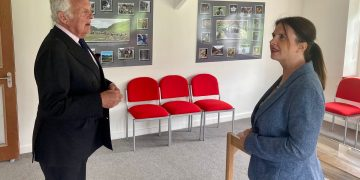 Malcolm Stonestreet, Chairman of the Borrowdale Institute, gives Trudy Harrison MP a tour of the Herdwick Suite