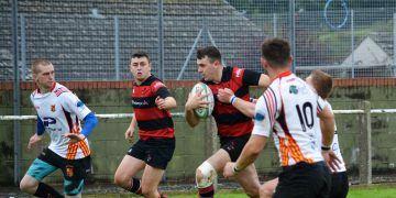 Ross Barton on his way through for a try against Tarleton. Pic Barney Clegg