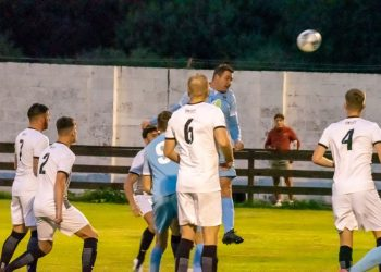 Dan Kirkup heads in the early goal for Carlisle City against Boldon. Picture: Joe Saunders