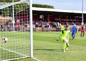 Dave Symington's free kick goes in. Picture Ben Challis