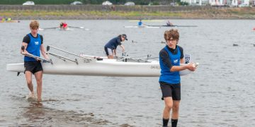 Doubles pairing Billy Strong, left, and Luca Jones after their race