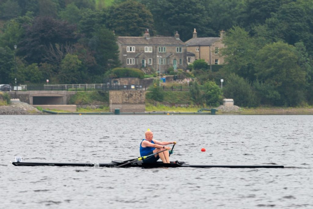 Gordon Jack heads for the finish line in his single scull