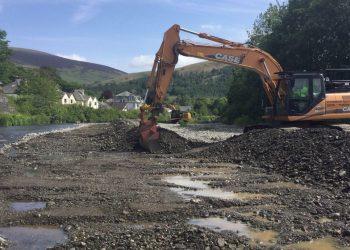 Gravel removal in the River Greta in 2020