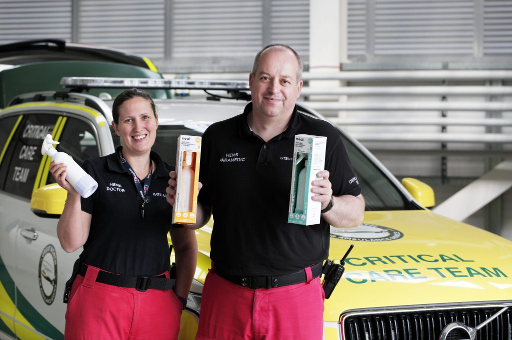 Hundreds of pounds worth of eco-friendly cleaning products have been donated to the county's air ambulance.
