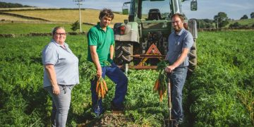 Caroline Dinham, Cranstons buyer with farmers Derek Clark and Richard Crayston at Challon Hall Farm