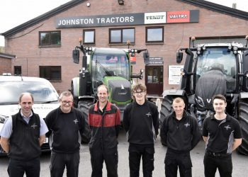 At Johnston Tractors' Penrith base are Richard Morton, Fendt specialist; Kevin Reid, branch parts manager; David Whitfield, branch service foreman; Samuel Carruthers, service apprentice; Jonathan Robinson, service technician; and Tom Johnston, operations manager.