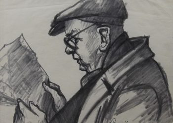 Man in Cap Reading Newspaper
