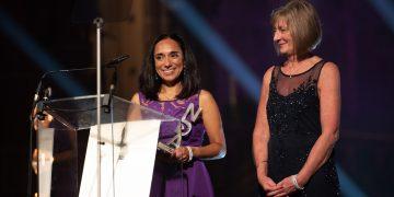 National Diversity Award Karmini McCann accepting awards for University Hospitals of Morecambe Bay NHS Foundation Trust