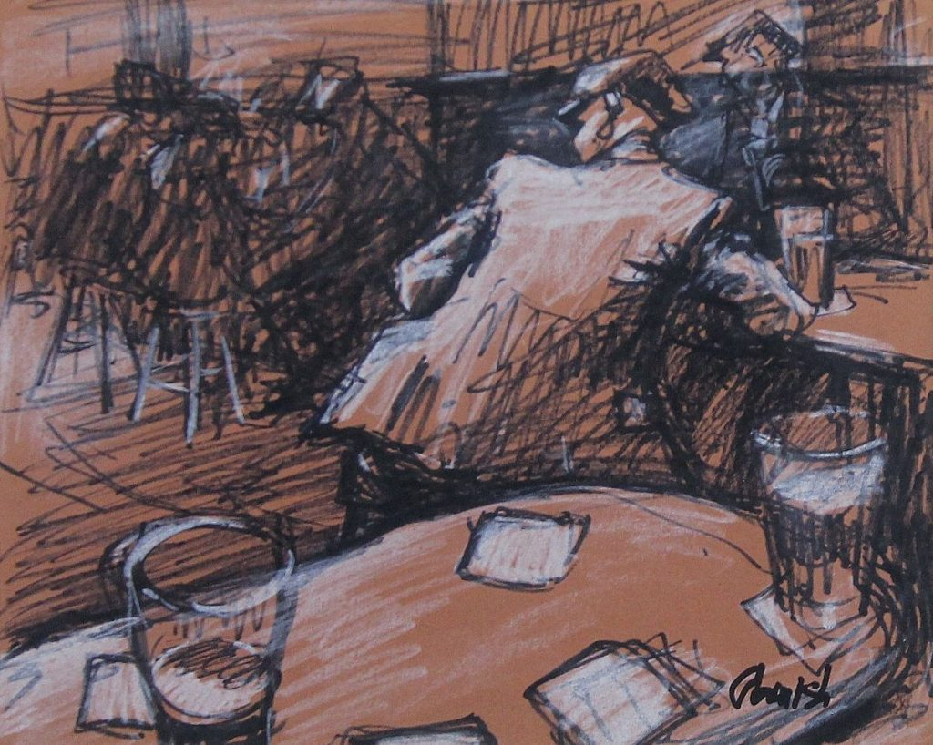 Norman Cornish - Man at Table in Bar