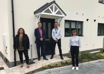 Cath Purdy, chief executive of SLH, Jonathan Brook, leader of SLDC, Mark Dutton, head of development at SLH and Councillor Helen Chaffey, housing portfolio holder at SLDC