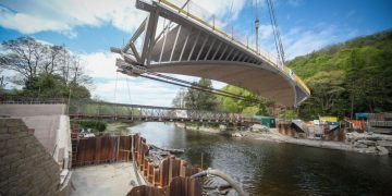 Pooley Bridge being lifted in to place