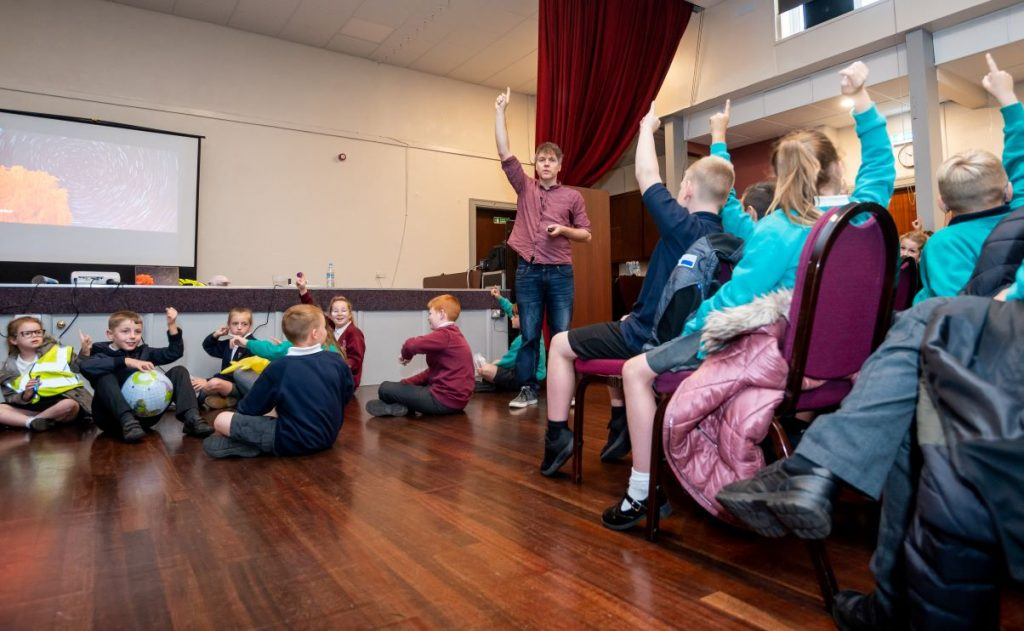 Schoolchildren join in with activities as part of Simon Watt's live science shows