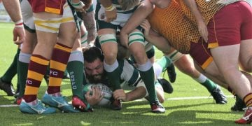 Scott Lancaster scores Penrith's first try Picture David Nattrass