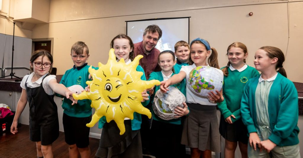 Simon Watt with pupils from St Patrick's Primary School