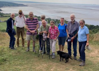 South Lakes Dementia Friendly Walking group at the viewpoint on Arnside Knott