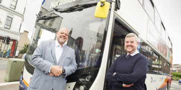 Rob Jones MD for Stagecoach Cumbria and North Lancashire and (right) MP Mark Jenkinson promoting new route No53 Workington town centre to Northside, at Workington Bus Station, Murray Road, Workington; Tuesday 31st August 2021 JENNY WOOLGAR PHOTOGRAPHY