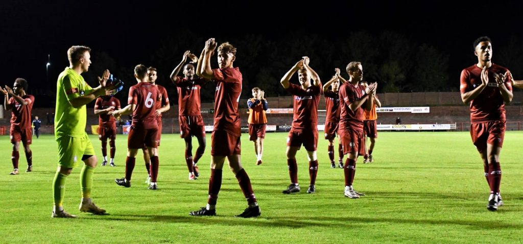The Reds applaud the supporters with the win against Ramsbottom Picture: Ben Challis