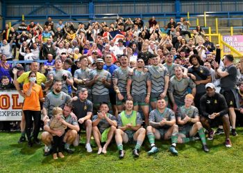 The Whitehaven squad with the travelling support at the end of the game. Picture: Ben Challis