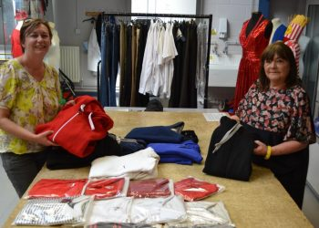 drienne Gill, from Carlisle Refugee Action Group, with Sharon Reynolds, from University of Cumbria's Institute of Arts, in the textile workshops at Brampton Road campus, Carlisle