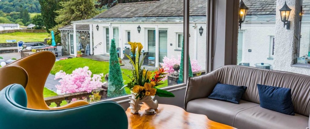 View out to the garden terrace at The Fisherbeck