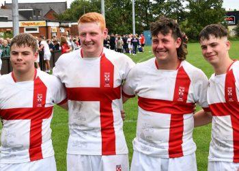 William Ennis, Aaron Turnbull, Jack Kellett and James Ennis after the England Lions' win (Ben Challis)