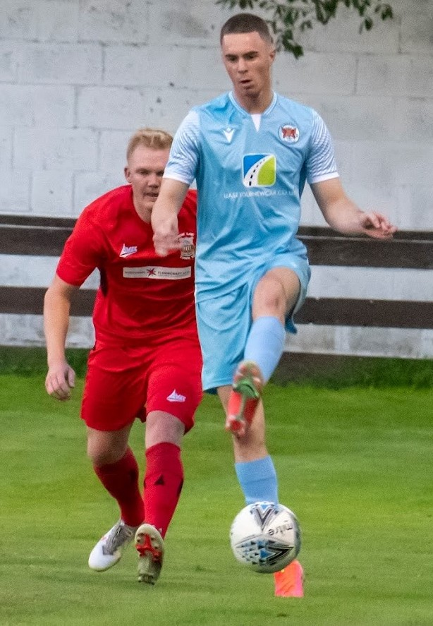 Aaron Bradbury on the ball for Carlisle City. He won the game from the penalty spot against Tow Law