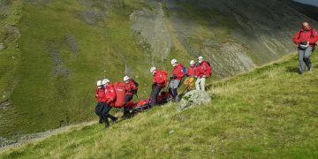 A woman was stretchered off Scafell Pike after breaking her ankle.  Wasdale Mountain Rescue Team was called to England's highest mountain on September 19.   Picture: Wasdale Mountain Rescue Team