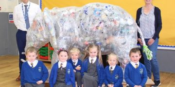 Copeland recycling officer Jan Boniface with Bookwell School pupils and headteacher Russell Hardy