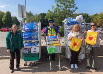 Kirsty Ireland (Community Champion – Morrisons), Mark Hutchinson (PCSO), Diane Jukes (Service Manager – South Lakes Foyer and Eden Rural Foyer) and Gudrun Fritz (Resource Centre Assistant – South Lakes Foyer)