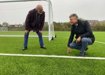 Mike Starkey inspects the new 3G pitch at Cleator Moor Activity Centre