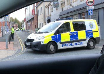 Police cordon on Portland Place, Carlisle