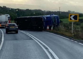 A66 blocked at Warcop bends (between Warcop and Sandford) due to an overturned HGV. Picture: Cumbria Road Watch