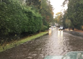 Flooding affecting the A5075 Borrans Road (Ambleside) between the Rugby Club and Waterhead. Picture: Cumbria Road Watch